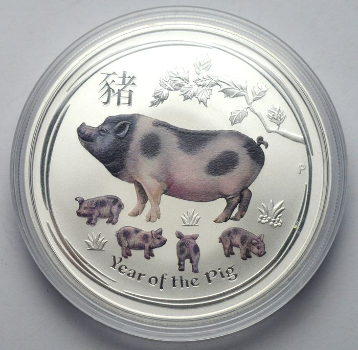 Australie - 1 Dollar 2019 Year of the Pig, colored - 1 Oz - Argent