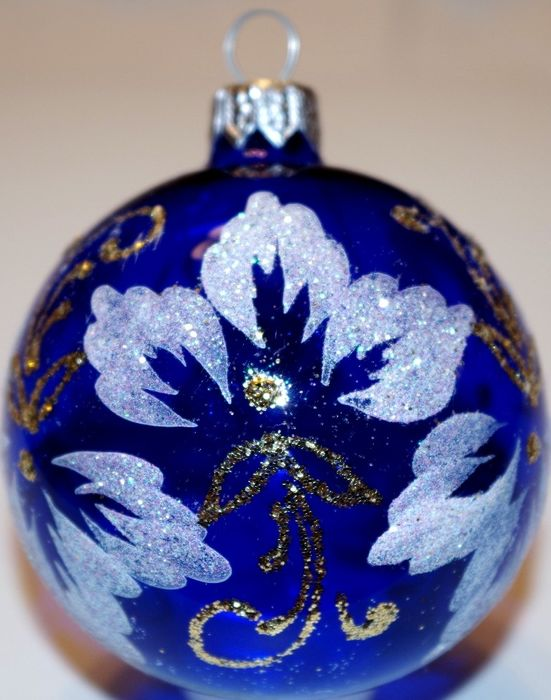 Exclusive blue christmas balls, hand painted (18) - Glass (stained glass)