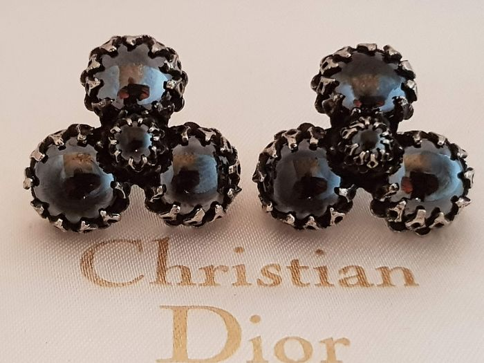 Christian Dior by Kramer exquisite smokey black stone 1960s - Earrings