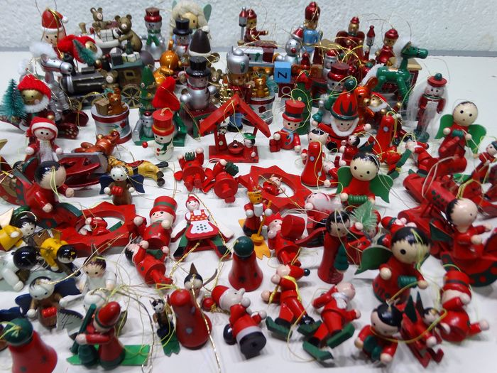 5-part Matroeska's Santa Claus and wooden Christmas figurines (110) - Wood