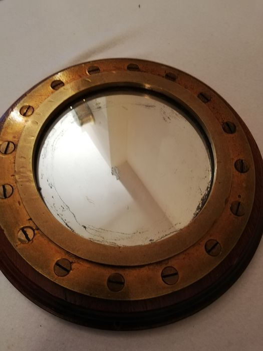 Heavy bronze Ship's Porthole with mirror  - Bronze Glass wood  - Early 20th century