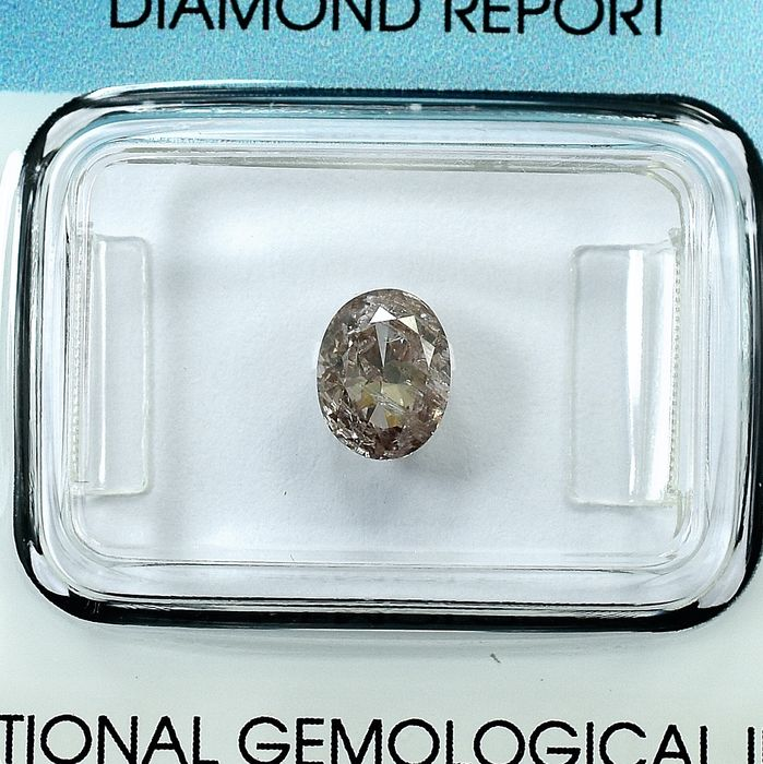 Diamant - 1.01 ct - Oval - Natural Fancy Brownish Pink - I2 - NO RESERVE PRICE