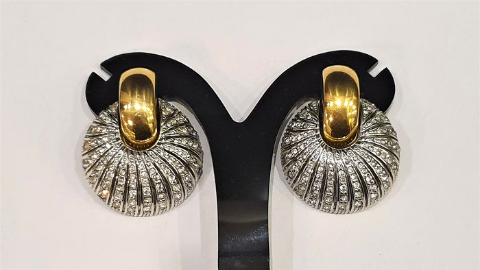 Rare GIVENCHY 18kt gold plated crystal - haute couture Earrings from 1970's
