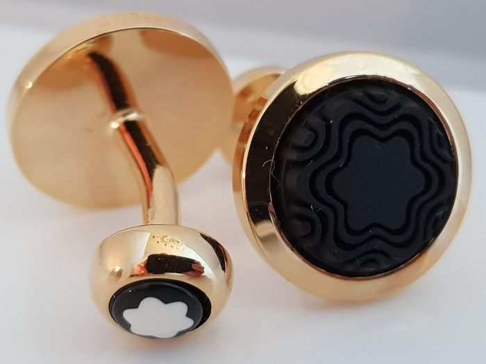 Mont Blanc gold plated carved logo rubber - Cufflinks