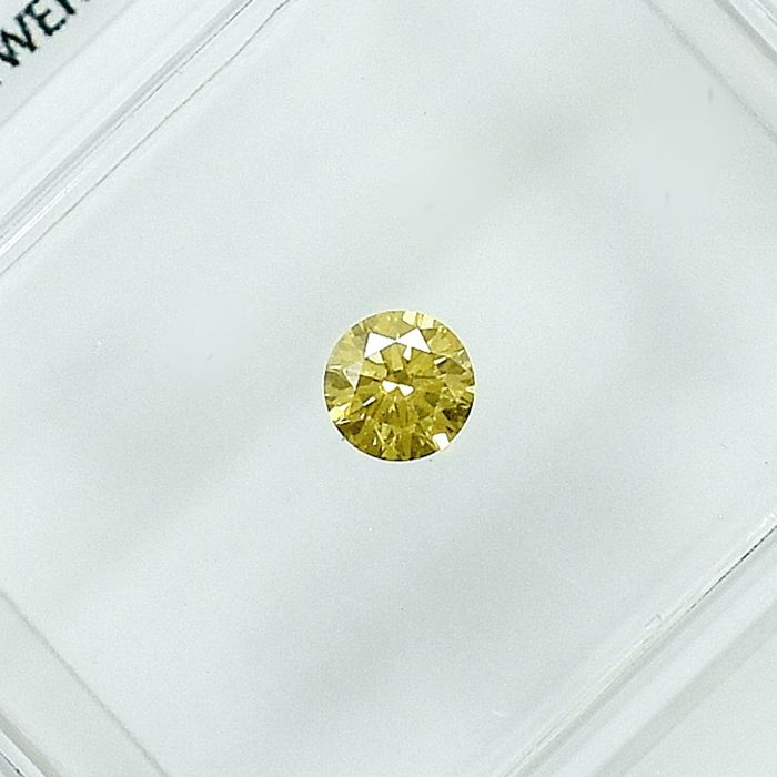 Diamant - 0.13 ct - Brillant - Natural Fancy Intense Yellow - Si2 - NO RESERVE PRICE - EXC/VG/VG