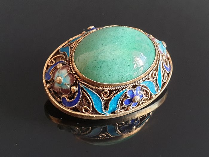 Silver Emaille Silver - Brooch Jade Cabochon Cut