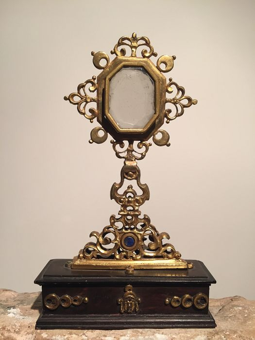 Reliquary - Baroque - Brass, Wood, rock crystal - mid 17th century