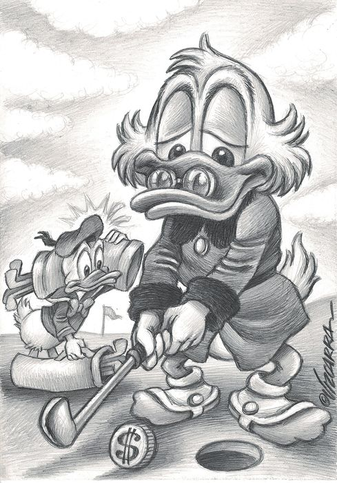 Donald Duck & Uncle Scrooge Playing Golf - Original Drawing - Vizcarra, Joan - Art au crayon original