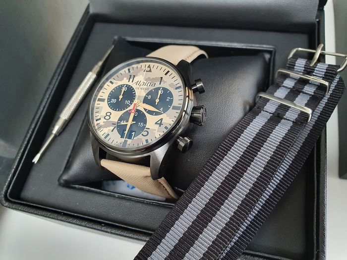Alpina - Chronograph  army military watch swiss made + free omega style strap - Hombre - 2019