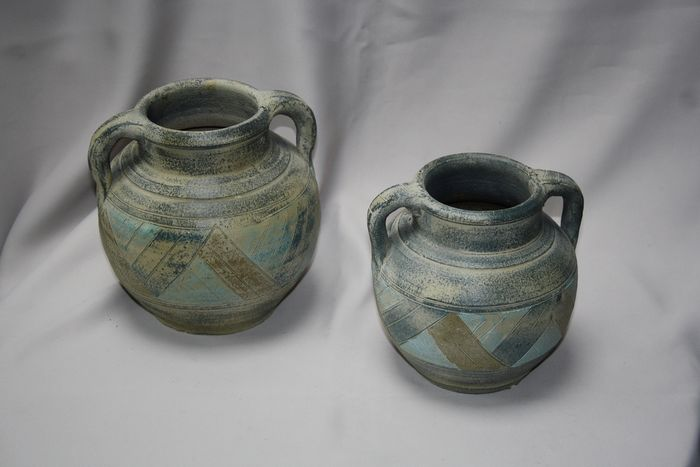 2 large jar ear vases