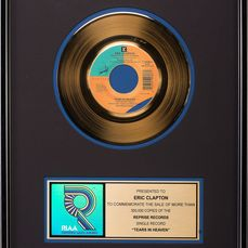 Eric Clapton - Tears in Heaven - Presented to Eric Clapton - Prix officiel RIAA - 1992/1992
