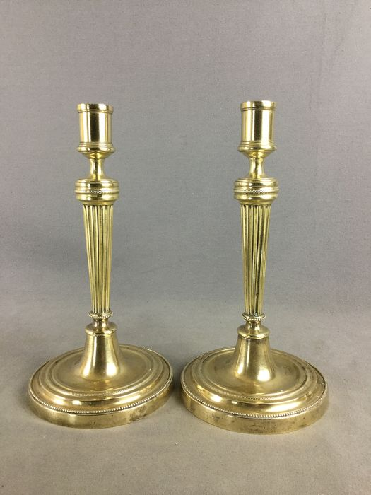 Pair of Directoire Candle Holders - Bronze - 19th century