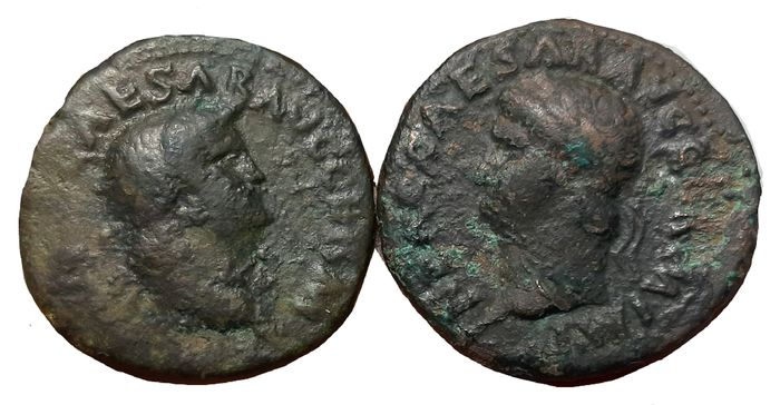 Empire romain - Lot x 2 Æ As of Nero (AD 54-68). Struck c. AD 65-66 - Victory flying