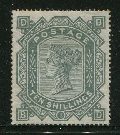 Großbritannien 1867 - 10 shilling grey-green watermark Maltese Cross EX ROYALTY - Stanley Gibbons SG128