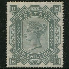 Great Britain - England 1867 - 10 shilling grey-green watermark Maltese Cross - Stanley Gibbons SG128