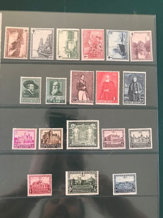 Belgium 1929/1930 - Five complete issues with landscapes, castles and coat of arms Antwerp - OBP / COB 293/314