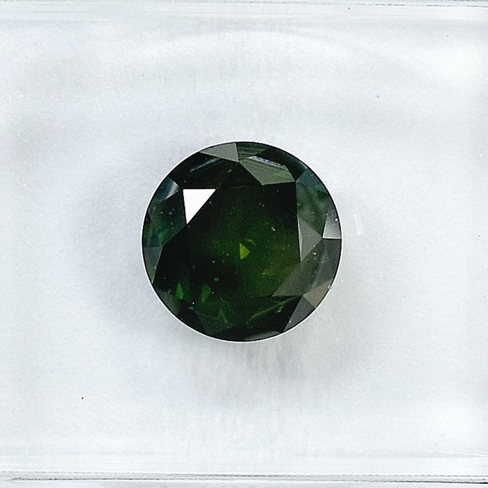 Diamond - 1.45 ct - Brilliant - Fancy Dark Green - I2