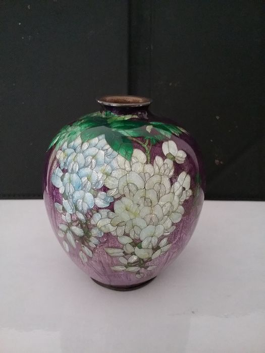 Ginbari cloisonné vase - Cloisonne enamel - signed / makers mark Kumeno Teitaro - Japan - Early 20th century