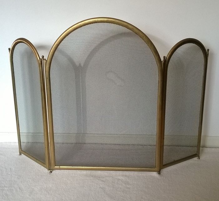 Heavy and solid brass fireplace screen (1) - Brass, Gilt