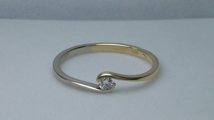 14 kt. White And Yellow Gold - Ring Diamond