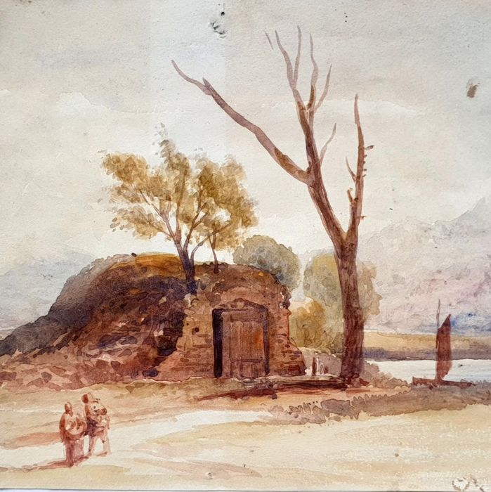 J.D. (19th century) - English School - View of an Tomb hill with trees