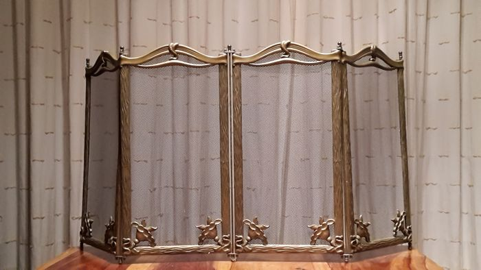 Beautiful French antiques full of copper fireplace screen, - full buyer.