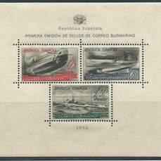 Spain 1938 - Submarine post miniature sheet - Edifil 781