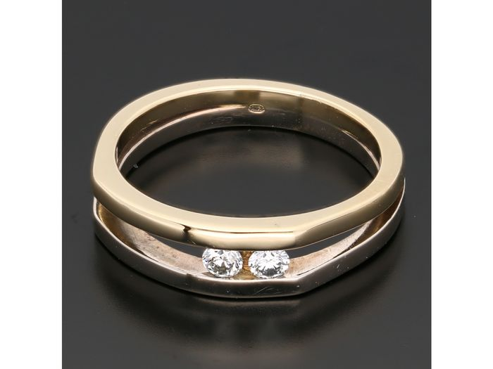 14 quilates Bicolor, Oro - Anillo - 0.18 ct Diamante