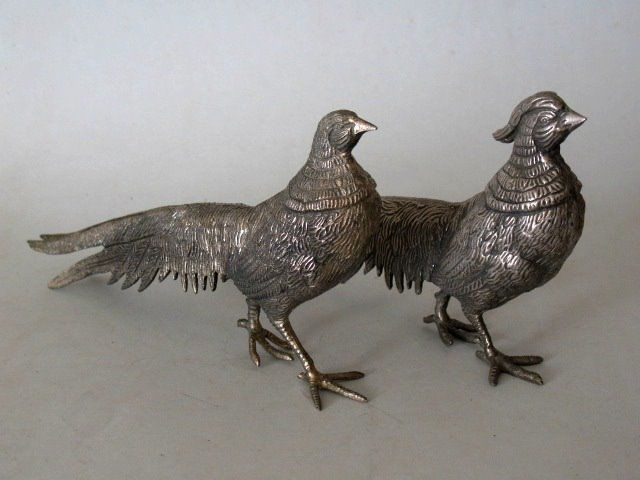 Couple pheasants - Silverplate