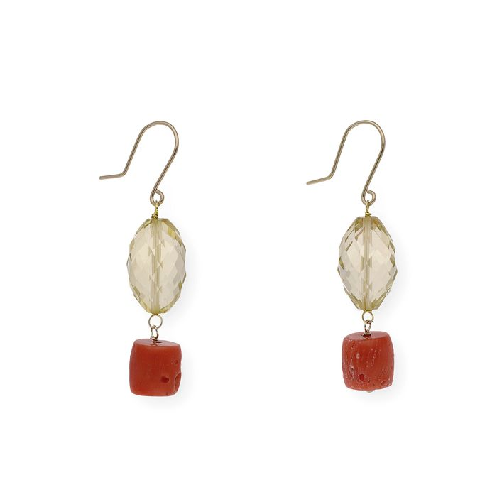 18 kt. Gold, Yellow gold, Citrine - Earrings Citrine - Coral of the Mediterranean