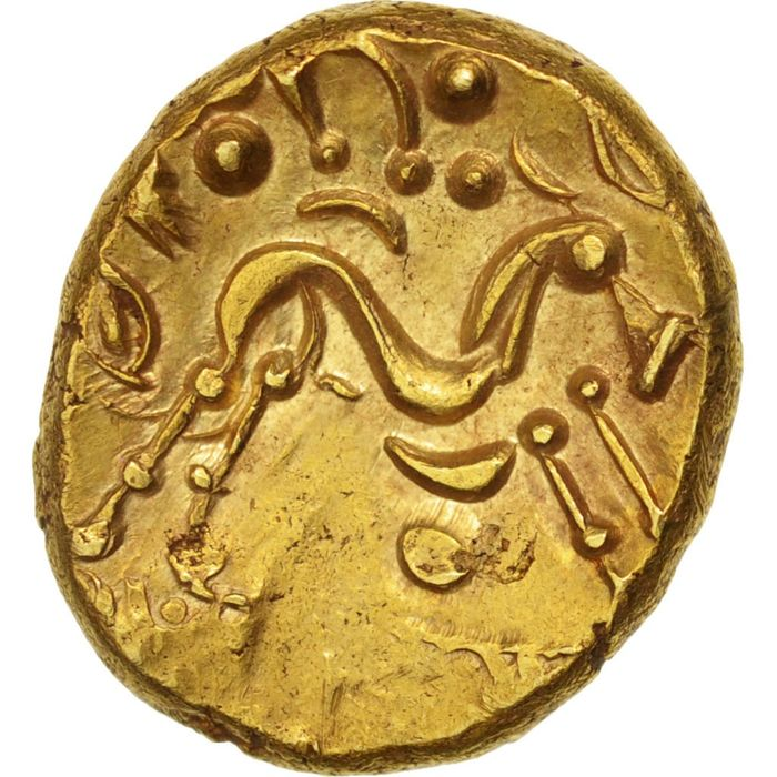 Celtic coins - Ambiani (Area of Amiens). Statère d'or uniface, c. 60-50 AC - Gold