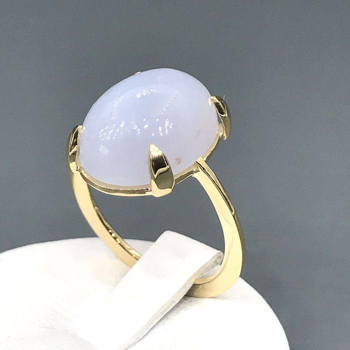 18 kt. Yellow gold - Ring - 11.00 ct Chalcedony