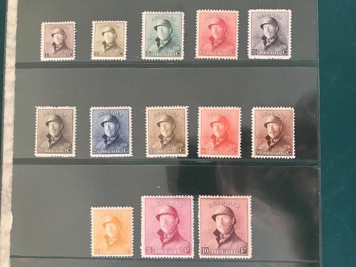 Belgium 1919 - King with helmet without 2 Fr with three varieties - OBP / COB 165/175, 177/178