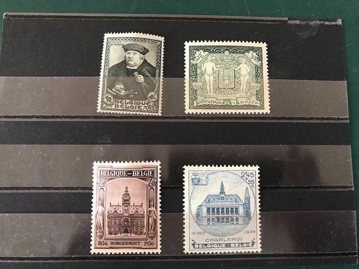 Belgium 1930/1935 - Four stamps from blocks with François De Tassis and City coat of arms of Antwerp - OBP / COB 301, 410 en 436/437