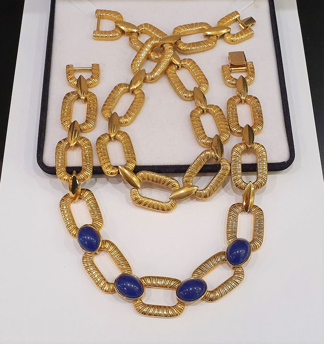 ERWIN PEARL Gold plated - faux Lapis Lazuli Necklace