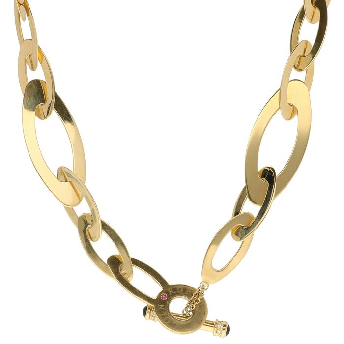 Roberto Coin - 18 kt. Gold - Necklace - 0.07 ct Diamond - Ruby, Sapphire
