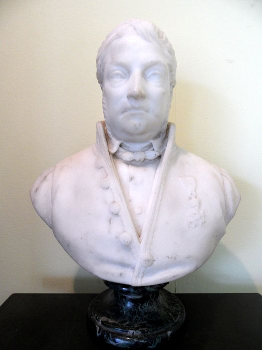 bust, French aristocrat with medal; légion d'honneur - Marble - 19th century