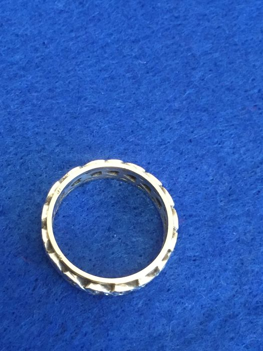 9kt & Silver Yellow gold, & Silver - Ring Diamond