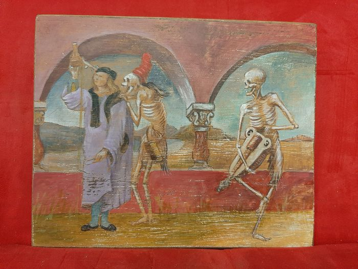 """Macabre dance"" - Tempera on table - Late 19th century"