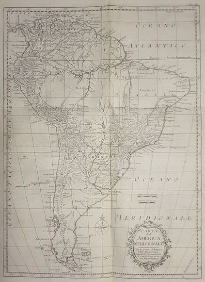 South America, Brasile, Paraguay, Argentina, Cile, Uruguay; Robertson / T.Kitchin - Carta dell'America Meridionale - 1781-1800