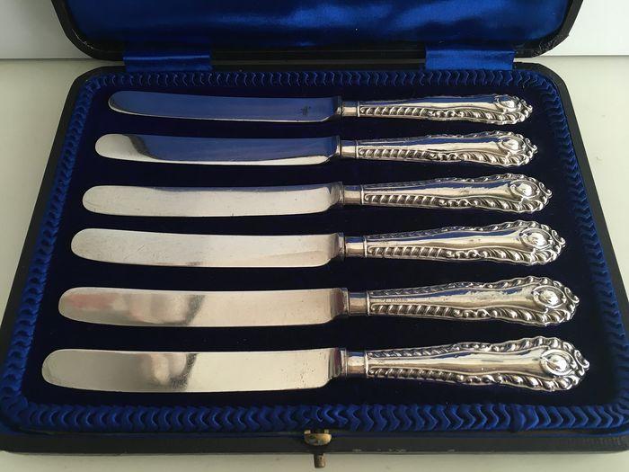 Sterling Silver Handled & silver plated blades tea / butter knife set  - .925 silver - Yates Brothers, Sheffield   - England - 1911