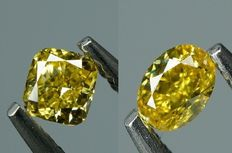 2 pcs Diamanter - 0.34 ct - KUSBRILLIANT & OVALBRILLIANT - fancy intens yellow - VS1-VS2  - No Reserve