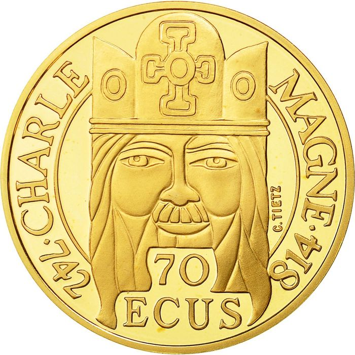 France - 500 Francs 1990 Charlemagne - Or