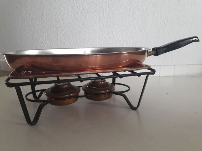 SPRING CULINOX - high-quality, large fish pan (length 37.5 cm) on rechaud - Copper