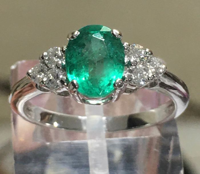 Didier Guérin - 18 kt. White gold - Ring Emerald - Diamonds