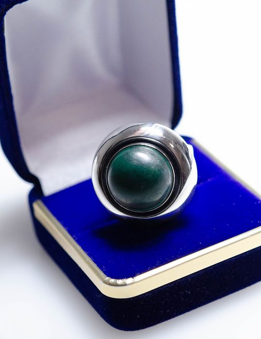 925 Silver - Ring with malachite - Niels Erik (N.E. FROM), Denmark