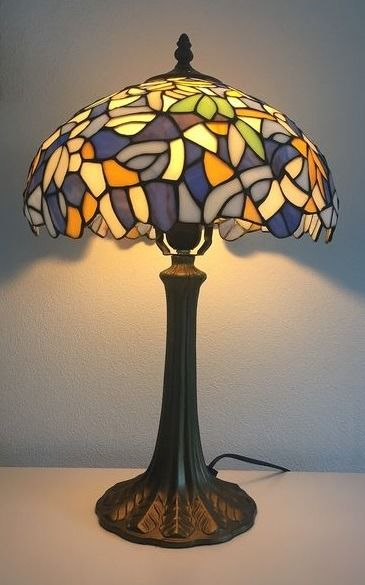 Table lamp, with leaves - Alloy, Stained glass