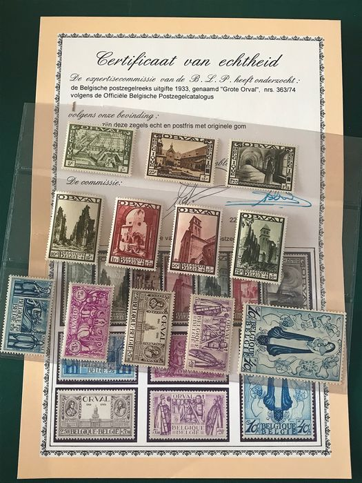 Belgium 1933 - Large Orval with FNIP certificate - OBP / COB 363/374