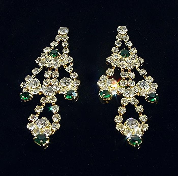 Jaqueline Kennedy exactly a replica of the Cartier emerald earrings  by Camrose&Kross, JFK made for -  24k gold plated with simulated emarald