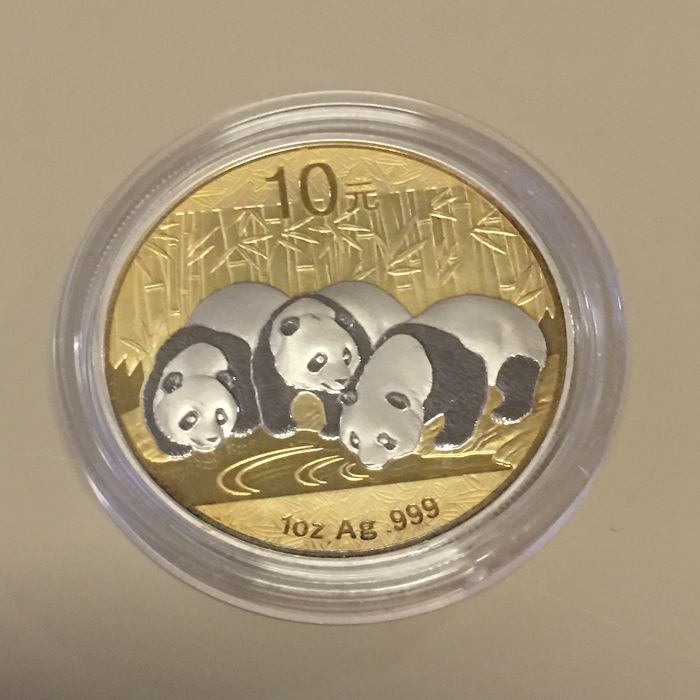 China - 10 Yuan 2013 - Wall Street - Panda - 24k Gold/Platin Gilded - from the Wall Street collection - 1 oz - Silver